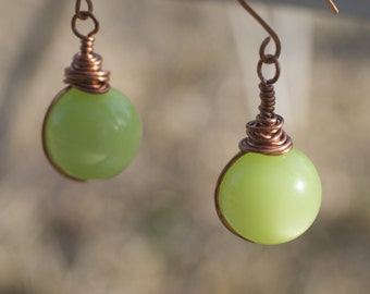 Green Melons - vintage lucite and copper earrings