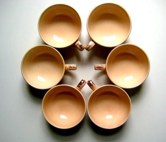 Mid Century Vernonware RAFFIA Tea Cups Classic MadMen Vintage