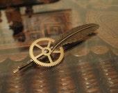 Steampunk Brass Feather Hair Pin
