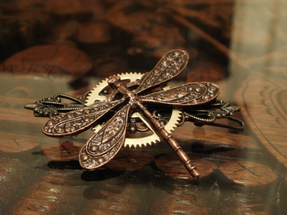 Steampunk Dragonfly Barrette in Antique Copper