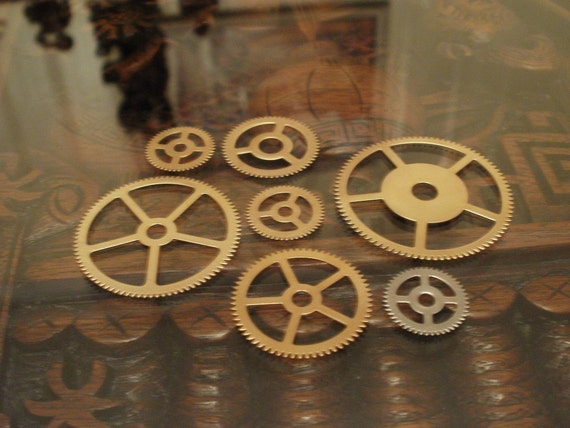 Brass Gear Sample Pack Large -- Steampunk and Scrapbooking Supplies