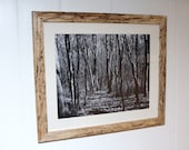 "Unique And Handcrafted Spalted Maple Frame Featuring ""Nature's Highway"" Black & White Print"