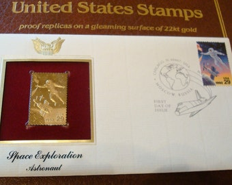 Stamp Space Exploration Apollo 22 kt. Gold Replica First Day Issue Envelope