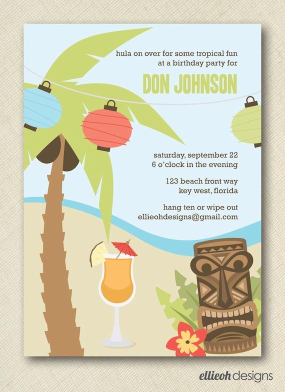 Items Similar To Hawaiian Luau Party Invite Printable 5x7