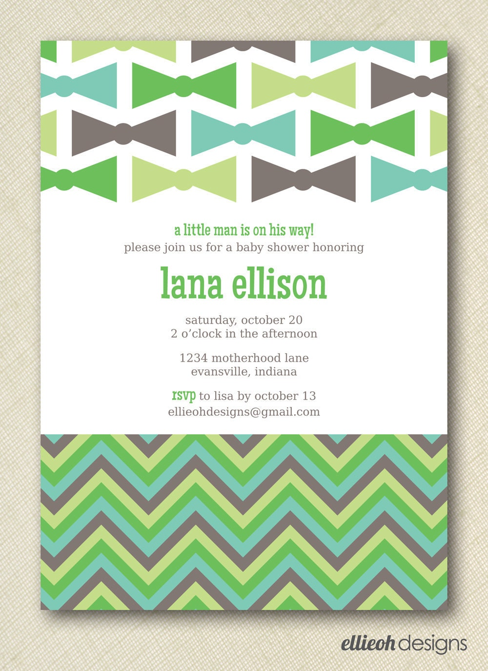 items similar to bow tie baby shower invite printable 5x7 digital file