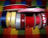 Lot of 11 Ribbon  red and white hearts red blue yellow silver green sheer wired Crafting Lot