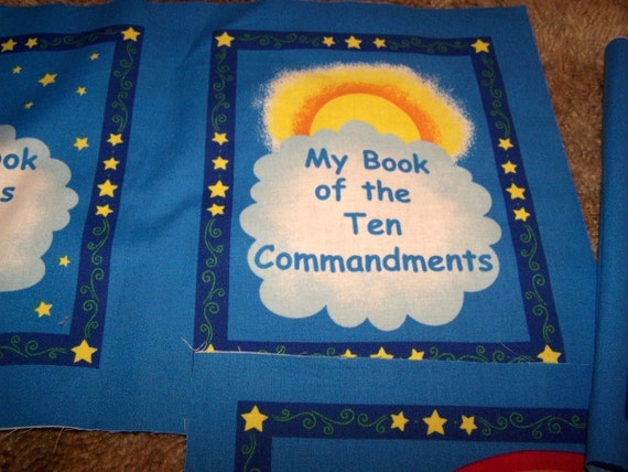 Ten Commandments Cotton Fabric Book Panel Christian