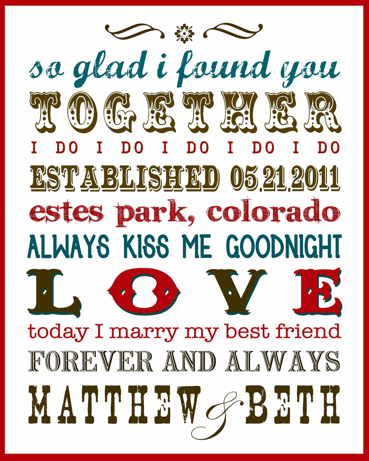 Wedding Gift Subway Art : Subway Art for Newlyweds by annettejoydesigns on Etsy