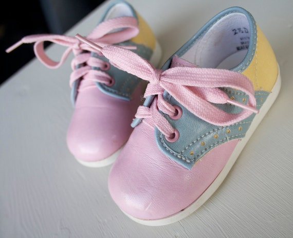 Vintage Blue Pink and Yellow Saddle Baby Shoes