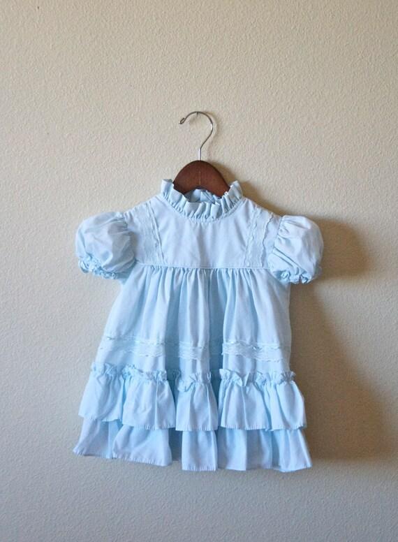 Vintage Aqua Blue Ruffle Dress (3T)