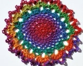 Rainbow Bright - Crocheted Doily