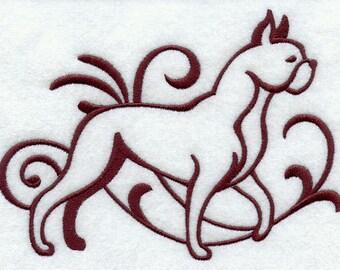 Elegant Damask Boxer Embroidered Flour Sack Hand/Dish Towel
