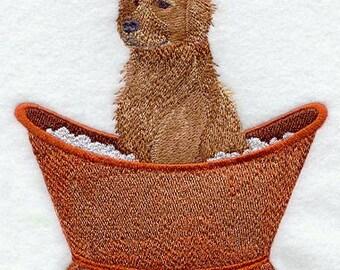 Golden Retriever in a Bathtub Embroidered Flour Sack Hand/Dish Towel