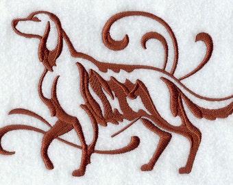Elegant Damask Irish Setter Embroidered Flour Sack Hand/Dish Towel