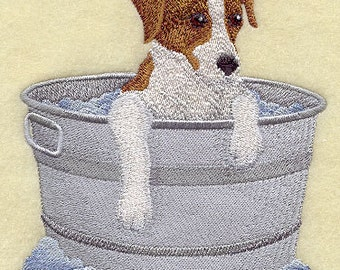 Jack Russel Terrier in a bathtub Embroidered Flour Sack Hand/Dish Towel