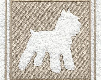 Schnauzer Embossed Style Embroidered Flour Sack Hand/Dish Towel