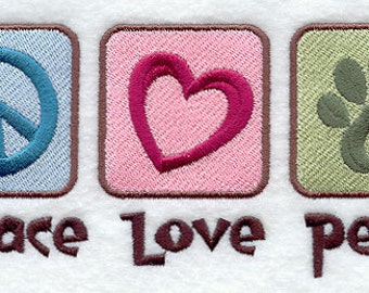 Peace Love Pets Embroidered Flour Sack Hand/Dish Towel