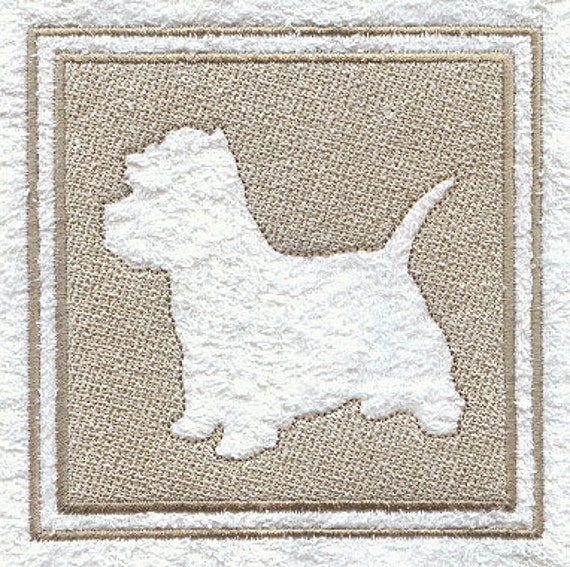 West Highland Terrier Embossed Style Embroidered Flour Sack Hand/Dish Towel