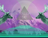 Geometric Art Print Stag Turquoise Purple - Follow Me
