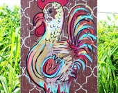 Wooden Signs, Wood Signs, Kitchen Art, Wood Art, Distressed Wood Sign Art: Rooster with Patterned background