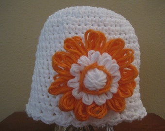 White Baby Beanie with Flower Accent