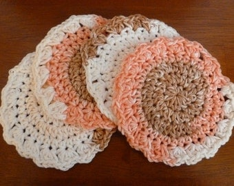 Crochet Fall Coasters  (Set of Four) - Ready to Ship -