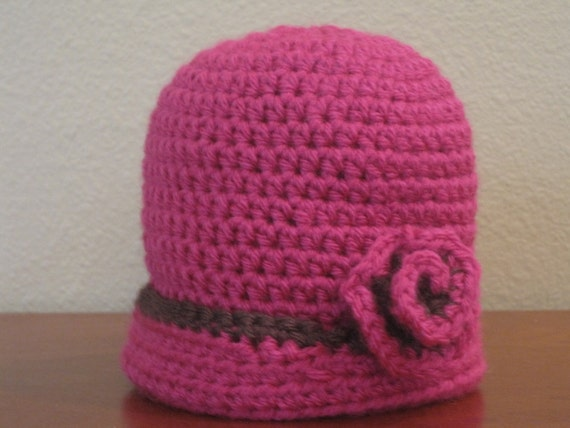 Newborn Baby Beanie with Rose Accent