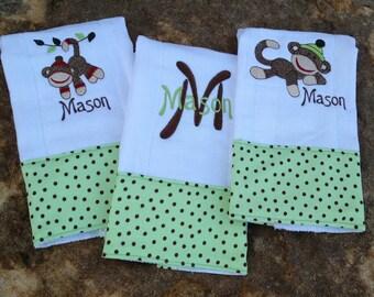 Set of 3 baby boy personalized sock monkey burp cloths