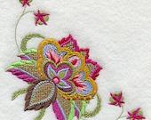 Jacobean Flower Corner Embroidered Flour Sack Hand/Dish Towel