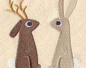 Jackalope and Bunny Embroidered Flour Sack Hand/Dish Towel