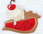 Whimsical Cherry Pie a la Mode Embroidered Flour Sack Hand/Dish Towel - EmbroideryEverywhere
