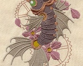 Steampunk Koi Asian Fish Embroidered Flour Sack Hand/Dish Towel