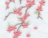Cherry Blossom Breeze Embroidered Flour Sack Hand/Dish Towel
