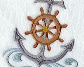Swirly Anchor and Rope - Embroidered Flour Sack Hand/Dish Towel