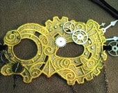 Cogs n Gears Steampunk Lace Mask with metal gears watch hands and chain accents