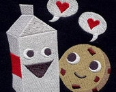 Milk and Cookies Embroidered Flour Sack Hand/DIsh Towel