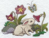 Easter Bunny with Flowers Embroidered Flour Sack Hand/Dish Towel