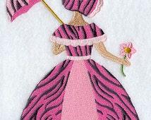 Umbrella Girl in Pink Zebra Embroidered Flour Sack Hand/Dish Towel