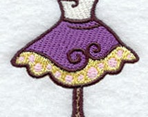 Whimsical Dress Form Embroidered Flour Sack Hand/Dish Towel