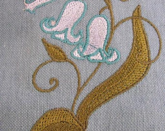 Bluebell FLowers Embroidered Flour Sack Hand/Dish Towel