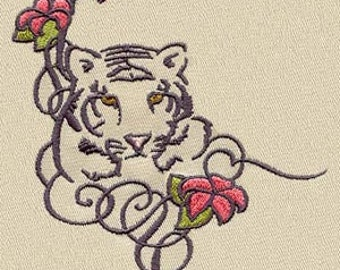 Tiger Leopard Embroidered Flour Sack Hand/Dish Towel