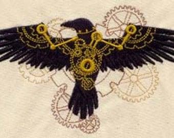 Steampunk Raven Embroidered Flour Sack Hand/Dish Towel