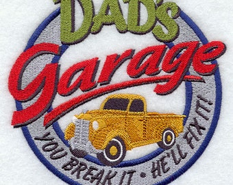 Dad's Garage Service Embroidered Flour Sack Hand/Dish Towel