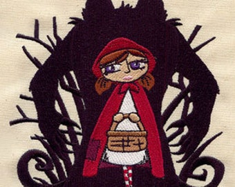 Little Red Riding Hood Wolf Shadow Embroidered Flour Sack Hand/Dish Towel
