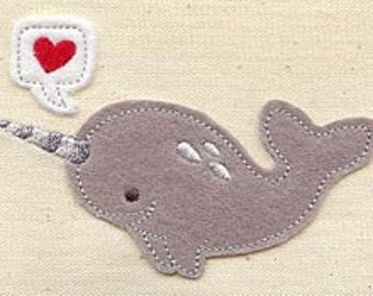 Narwhal FLEECE APPLIQUE Embroidered Flour Sack Hand/Dish Towel