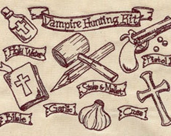 Vampire Hunting Kit Embroidered Flour Sack Hand Towel