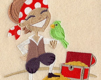 Petey Pirate Embroidered Flour Sack Hand/Dish Towel