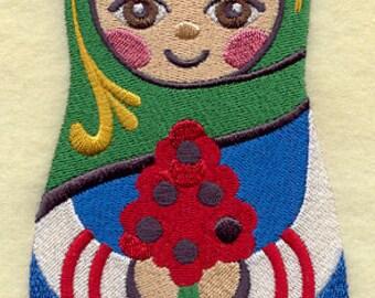 Matryoshka Doll Embroidered Flour Sack Hand Towel