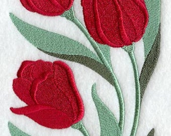 Tulips Embroidered Flour Sack Hand/Dish Towel