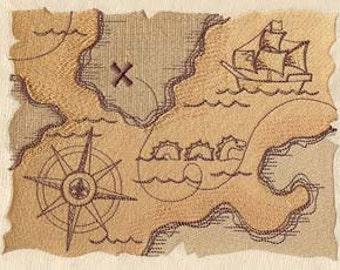 Pirate Treasure Map Embroidered Flour Sack Hand Towel